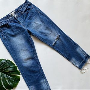 LIFE IN PROGRESS HID RISE DISTRESSED CROP JEANS Q8